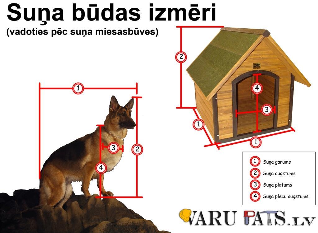 Suņu būda pēc suņa lieluma