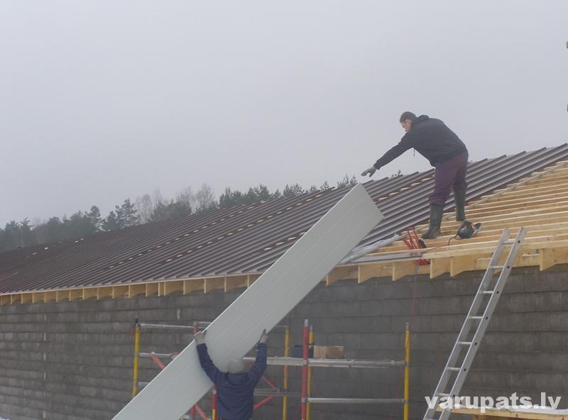 Valcprofila jumta ieklāšana, valcprofila loksnes