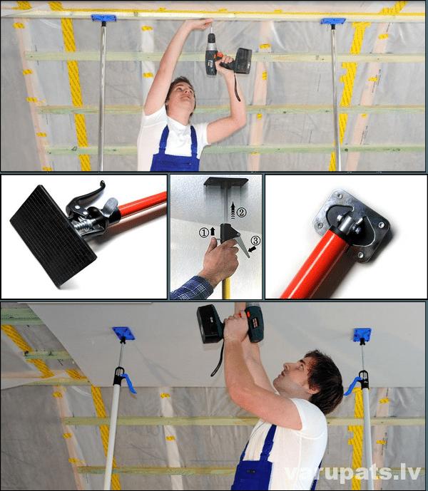 reģipša montāža, reģipša montāžā, regipša instrumenti, reģipša pacelšanas kāja, instrumenti ģipškartonam, reģipša nazis, reģipša montāža, atbalsta stienis, pārnest reģipsi