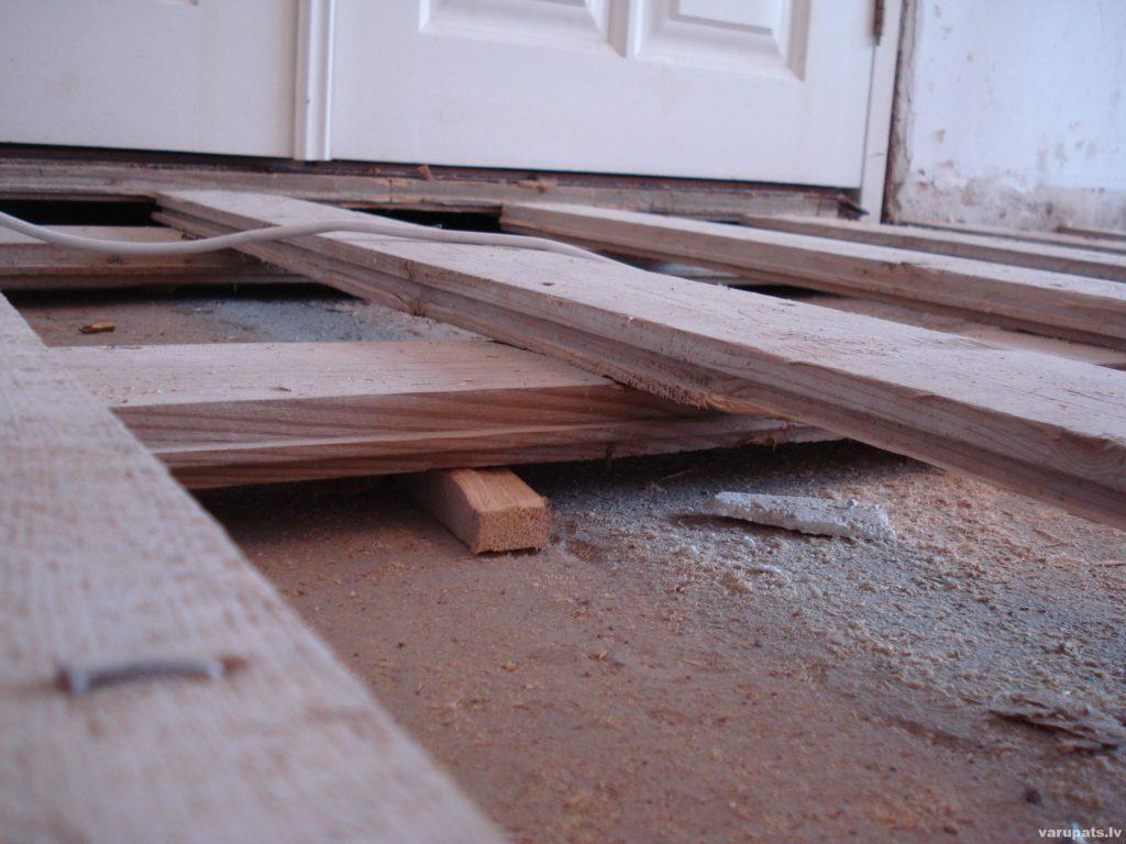 Grīdas līmeņošanu veicam ar koka tapiņu vai preskartona palīdzību tos novietojot zem gulšņiem ar 300-500mm lielu distanci, regulāri ar līmeņrādi pārbaudot grīdas līmeni.