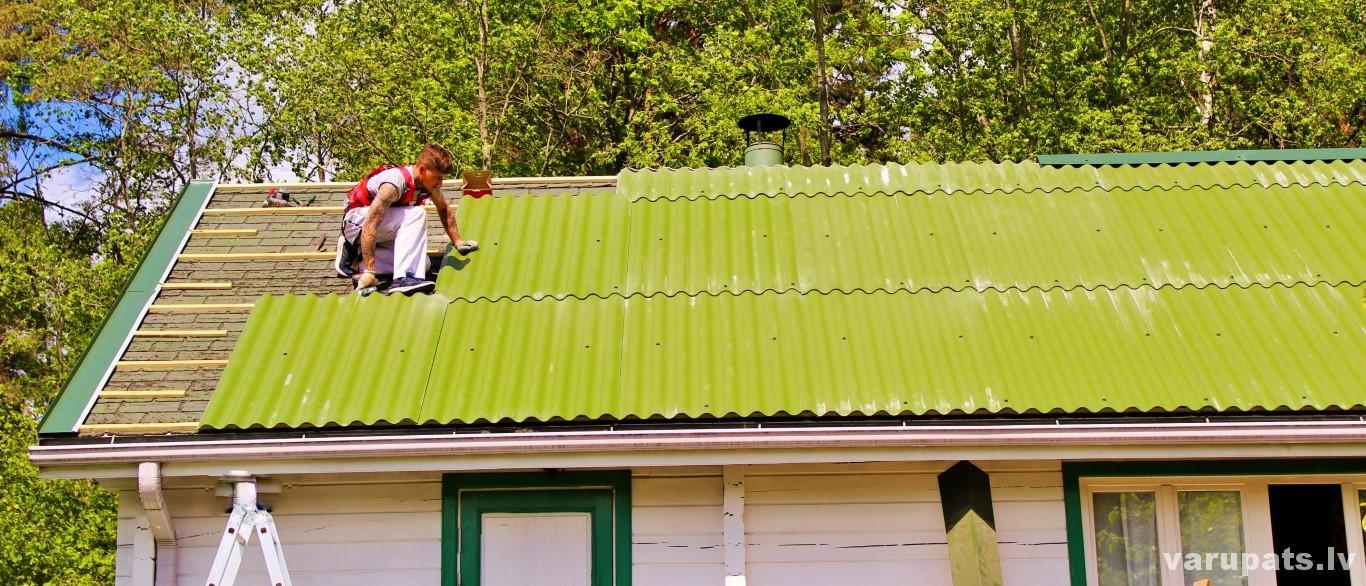 sifera bezasbesta montaza, ieklāsana un bitumena jumta