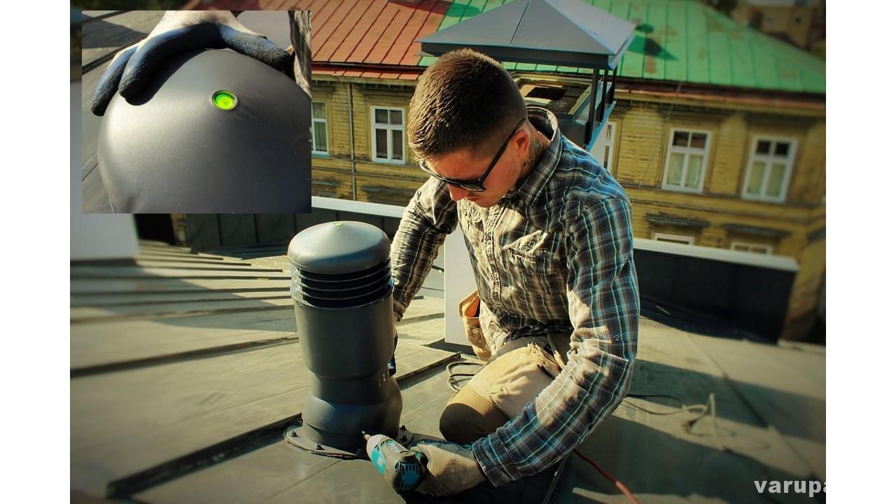 jumta ventilācijas izvada montāža, siltināts ventilācijas skurstenis
