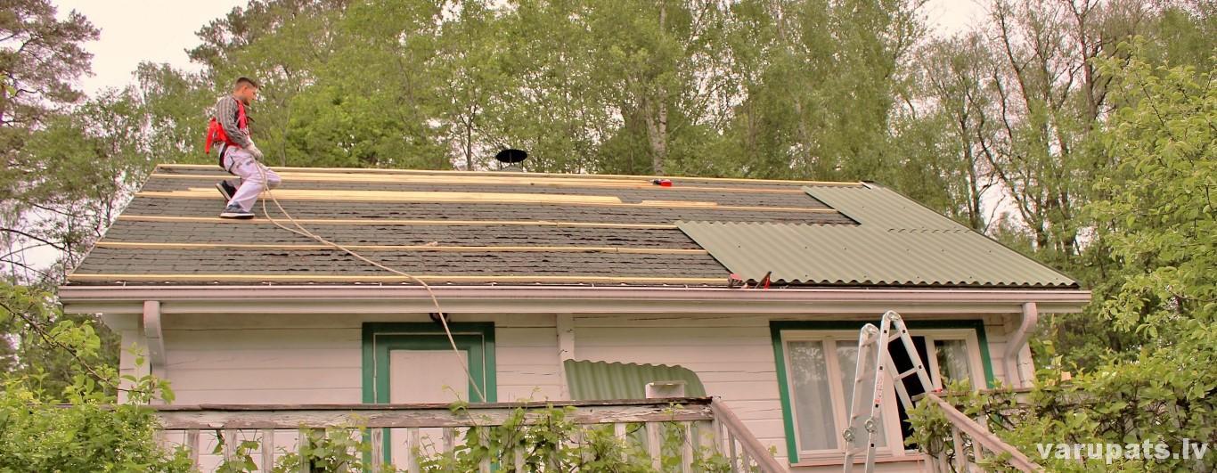 jumts bezasbesta sifera montāža uz bitumena jumta seguma