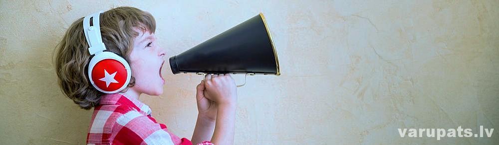Skanas izolacijas materiāli, zēns ar tauri, kliegt, puika kliedz skarunī, skanas izolacijas giskartons