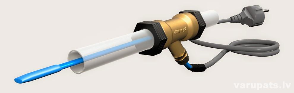 apsildes kabelis caurulē, aizsalusi ūdens caurule, termostats apsildes kabelim
